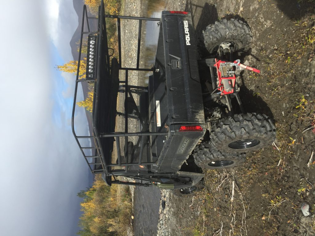 Polaris Ranger 800 6x6 side by side with rack.