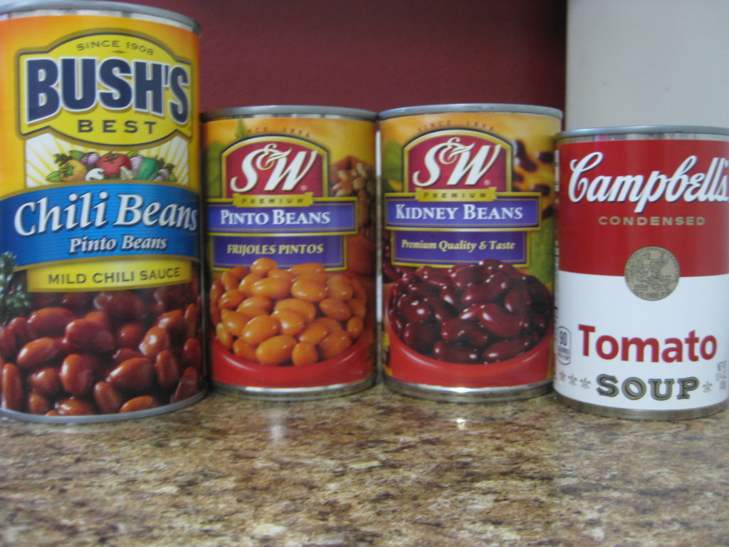 Ingredients for Dad's Alaskan Mild Moose Chili Soup and Beans